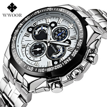WWOOR Mens Watches Luxury Brand Military Sport Big Dial Watch Man Stainless Steel Waterproof Quartz Wrist Watch For Men Clocks weide famous brand mens watch leather strap belt band big black dial stainless steel back quartz movement original gifts for men