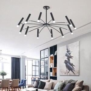 Image 4 - Lustre de decoração moderna, lustre de luminária preto com design criativo para sala de estar e sala de jantar