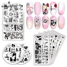 BORN PRETTY-placas para estampado de uñas, plantilla para decoración de uñas de acero inoxidable, 12x6cm