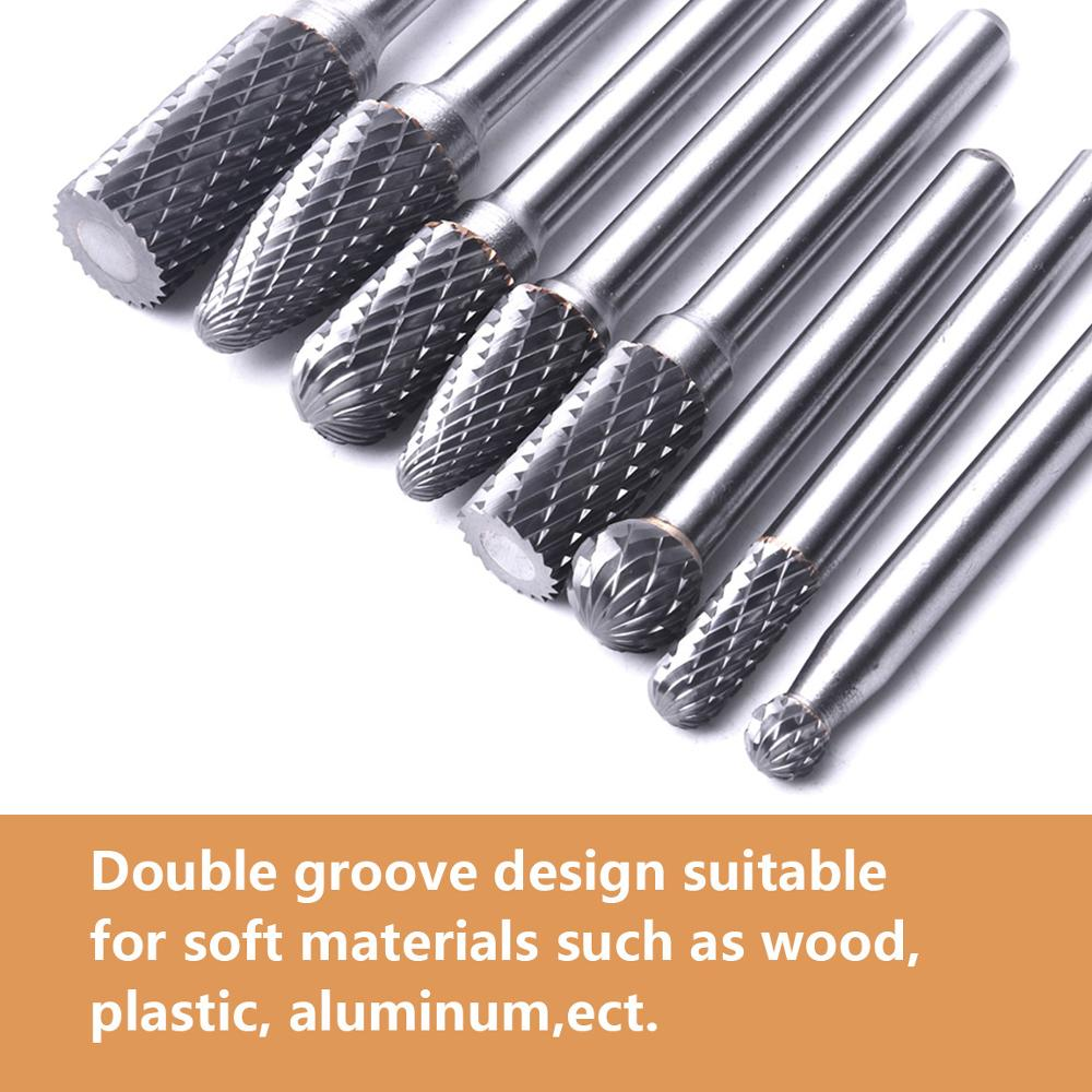 """8pcs Double Cut Tungsten Carbide Rotary Burrs Set  with 1//4/"""" Shank 6.35mm"""