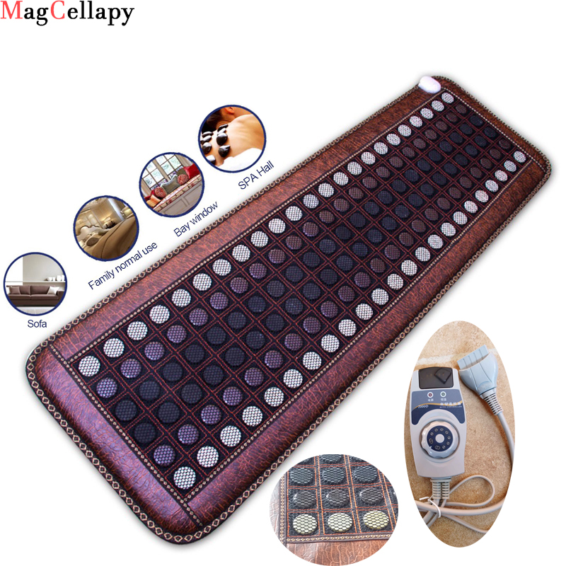 Far Infrared Heating Mat - Hot Stones Jade Tourmaline - Negative Ions - Mesh Mat - Adjustable Timer & Temperature - Heating Pad