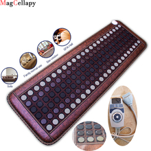 Far Infrared Heating Mat - Hot Stones Jade Tourmaline - Negative Ions - Mesh Mat - Adjustable Timer & Temperature - Heating Pad 2018 best selling products infrared heating mat tourmaline health products full body heat sleep mat with free gift eye cover