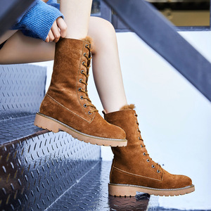 Image 2 - Centenary Vierkante hak laarzen voor vrouwen Ronde Neus vrouwen schoenen Lage (1 cm 3 cm) winter schoenen vrouwen Lace Up harige laarzen