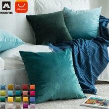Microfine бархатная Наволочка на подушку чехлы на диванные подушки, домашнему декору Наволочки размером 45*45, домашние декоративные подушки для дивана синий