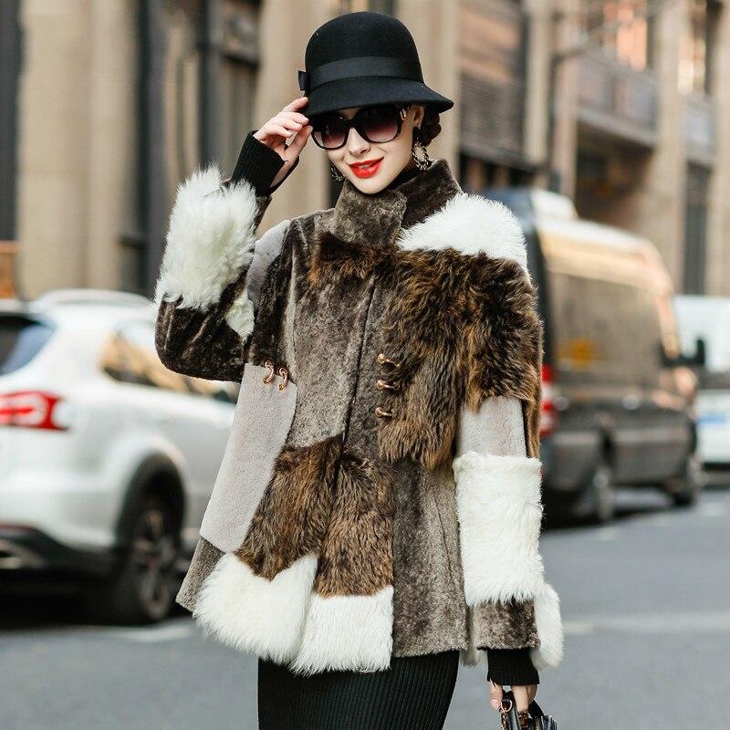 Natural Fur Coat Female Winter 100% Wool Shearing Jacket Women Clothes 2020 Korean Vintage Double Faced Fur Coat Tops Hiver 0102