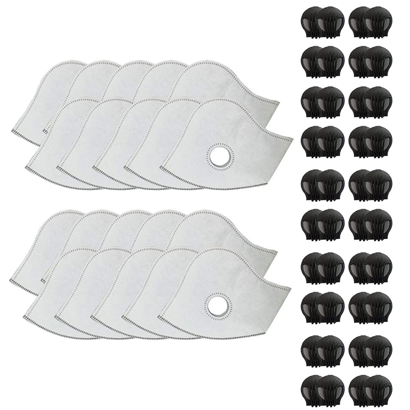 20 Sets of PM2.5 Mask Filters with Exhaust Valve Activated Carbon Air Purifier Dust Mask Filters