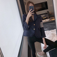 TVVOVVIN Small Real Purplish Navy Blue Color Weave Small Suit Woolen Loose All match Short Slimming Coat 2019 Autumn ZX139