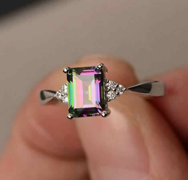 ใหม่อินเทรนด์แหวนคริสตัล 6/7/8/9/10 ขนาดแหวนผู้หญิง AAA multicolor Zircon Cubic elegant แหวนหญิงเครื่องประดับ