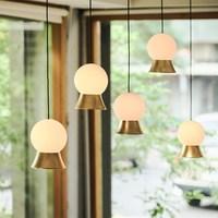 Moderno led redondo bola de vidro pingente luzes ferro e14 pingente lâmpadas pendurado luminária para sala estar quarto sala jantar|Luzes de pendentes| |  -