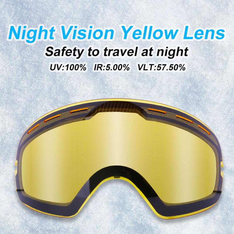 Противотуманные Сменные линзы PHMAX для обычных лыжных очков, футляр для очков с ночным видением, желтые линзы, несколько цветов