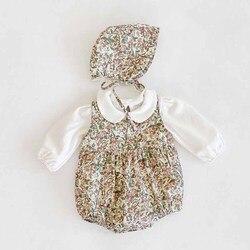 Осенний комбинезон с цветочным рисунком для маленьких девочек милый корейский детский комбинезон, хлопковый Детский комбинезон без рукаво...