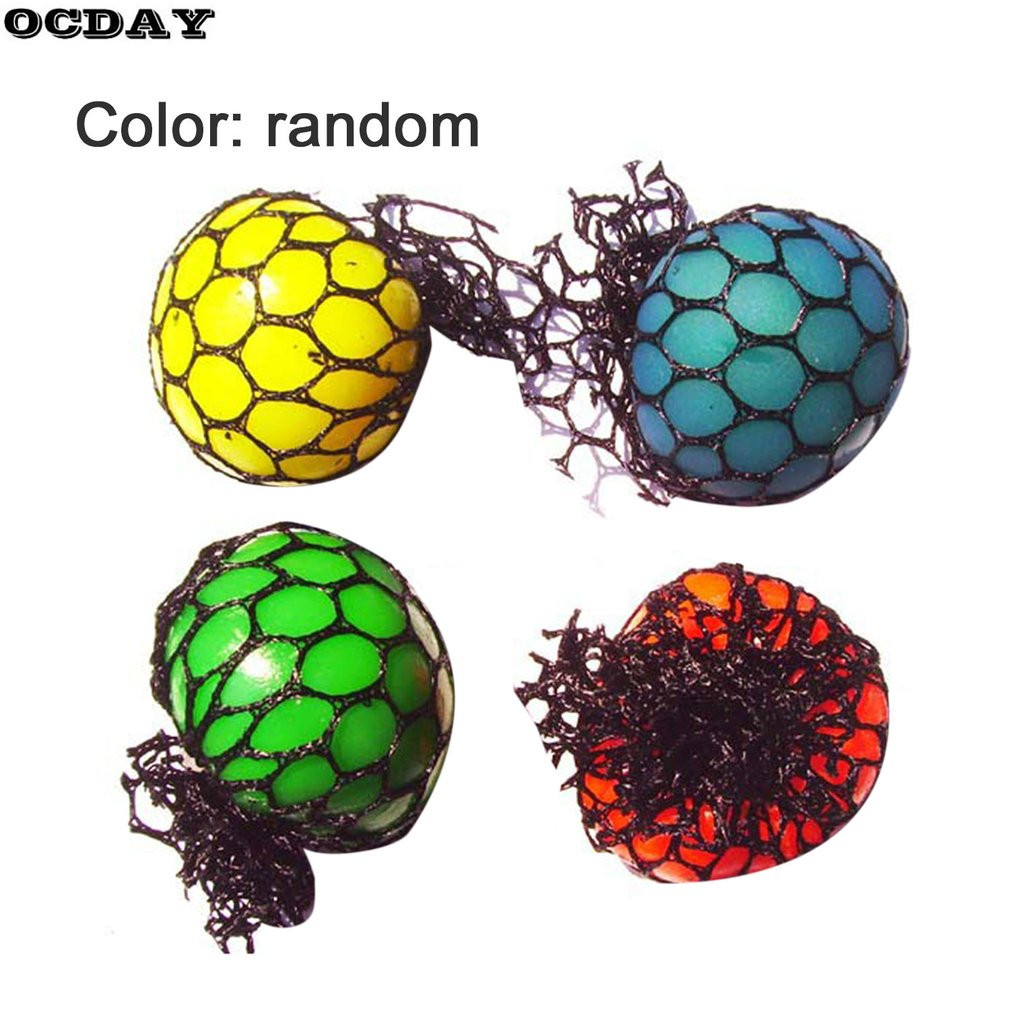 OCDAY Funny Anti Stress Face Reliever Grape Ball Natural Rubber Decompression Squeeze Ball Toys For Kids Adult Joke Best Gift