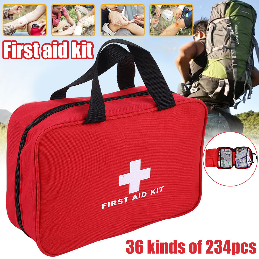 234pc First Aid Kit Bag All Purpose Emergency Survival Home Car Medical Bag Comes With 35 Different Medical Trauma Supplies