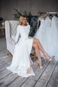 Image 3 - 2019 Bohemian Wedding Dress Long Sleeves High Low Bridal Gowns Backless Elegant Vestido De Noiva Lorie Wedding Gowns For Women