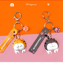 Cute Cat Keychains Footprint-Accessories Girl Ass Pendant-Ring Jewelry Animal-Bell Gift