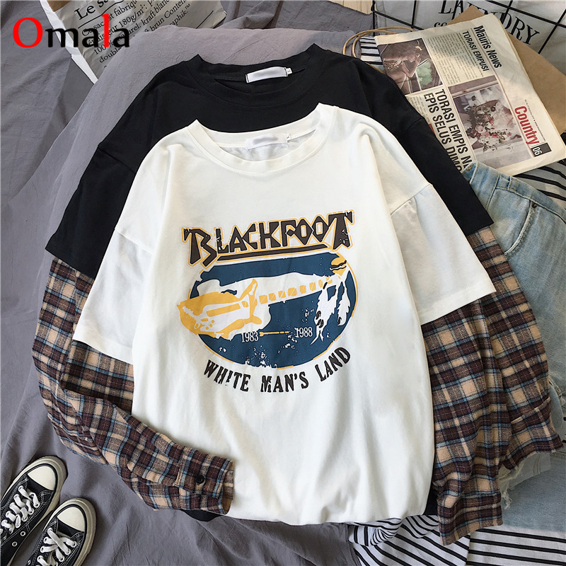Korean Simple oversized graphic tees Women shirts fashion Long Sleeve tshirt Leisure Plaid patchwork t shirt white black tops 1