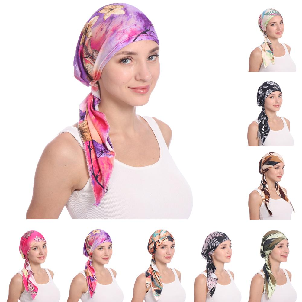 Muslim Women Printed Hijabs Hats Turban Head Head Scarf Chemo Cancer Cap Hair Loss Hat Long Tail Bow Bonnet Wide Band Wrap Cap