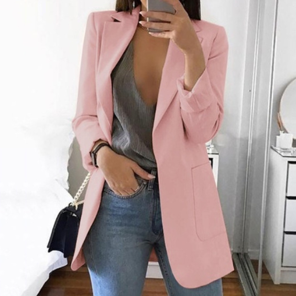 2019 Fashion Solid OL Blazers High Street Office Ladies Blazer Long Sleeve Loose Suit Coat Jacket Women Blazers Female Outerwear
