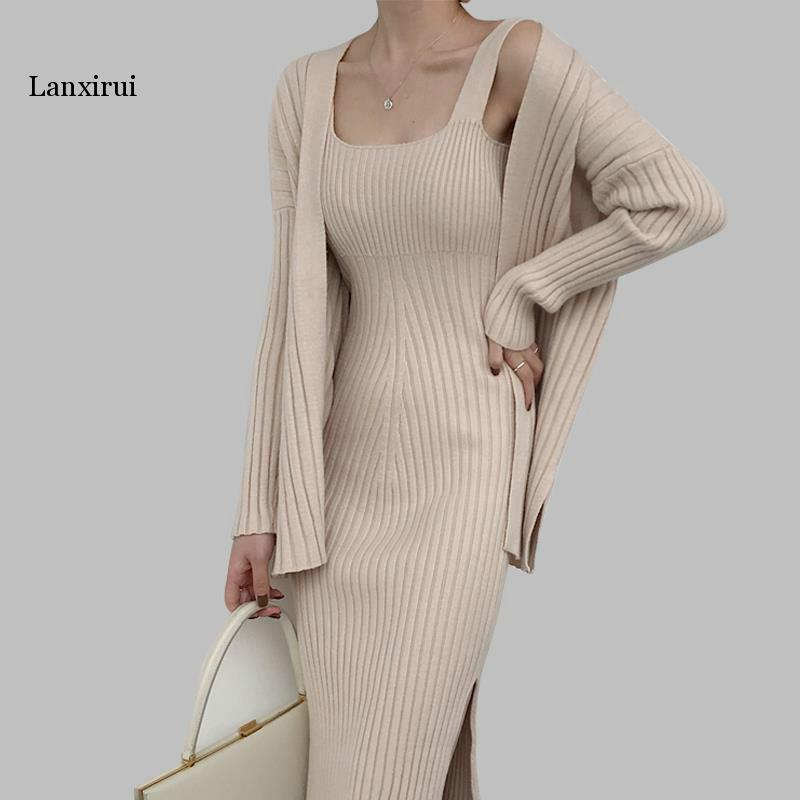 New High Quality Winter Women's Casual Long Sleeved Cardigan + Suspenders Sweater Vest Dress Two Piece Runway  Dress Suit