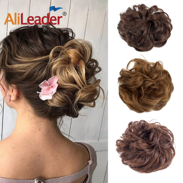 AliLeader Chignon Curly Fake Hair Bun Ponytail Extensions Short Hair Synthetic Messy Donut Hair Drawstring Ponytail for Woman1PC