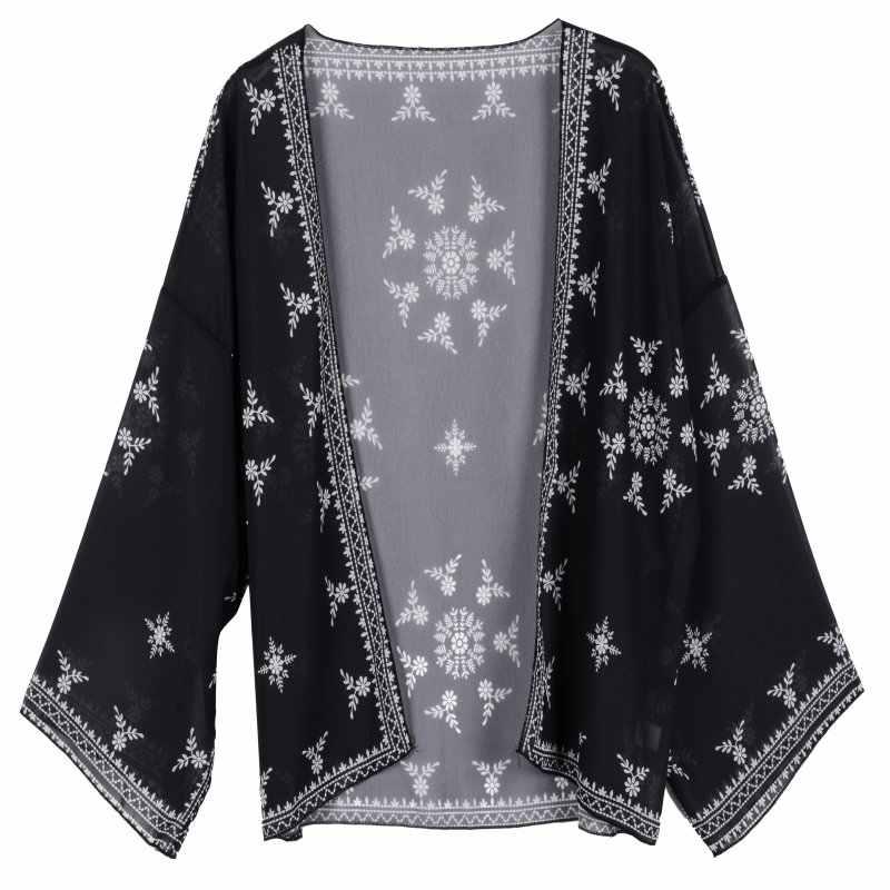 Ретро Вышивка Снежный Цветок Crotoch кружевной подол кардиган-кимоно рубашка бренд шоу стиль женский пляж праздник Топы