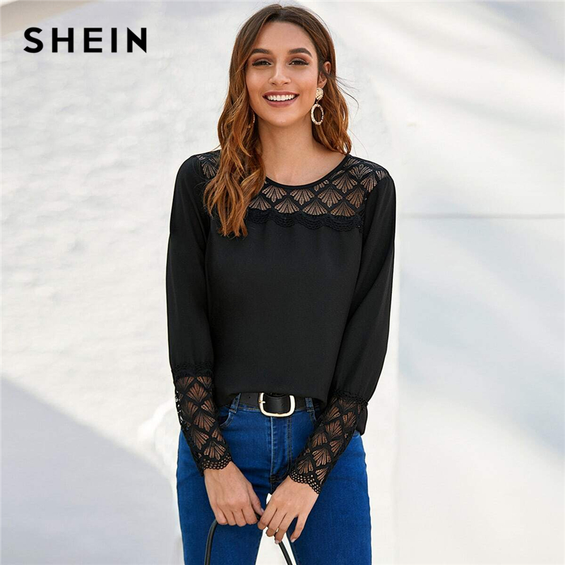 SHEIN Black Lace Yoke And Cuff Solid Top Women 2020 Spring Blouse Long Sleeve O-neck Ladies Elegant Blouses And Tops