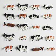 Scale Miniture Model Painted Black And White Farm Animals Cow 30pcs 1:87 HO For Small Work Scenery Layout