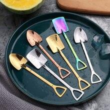 Cuchara de café de moda, cucharilla de postre de helado, cucharilla de cabeza redonda retro, accesorio de cocina, utensilios de cocina para bar, 2020