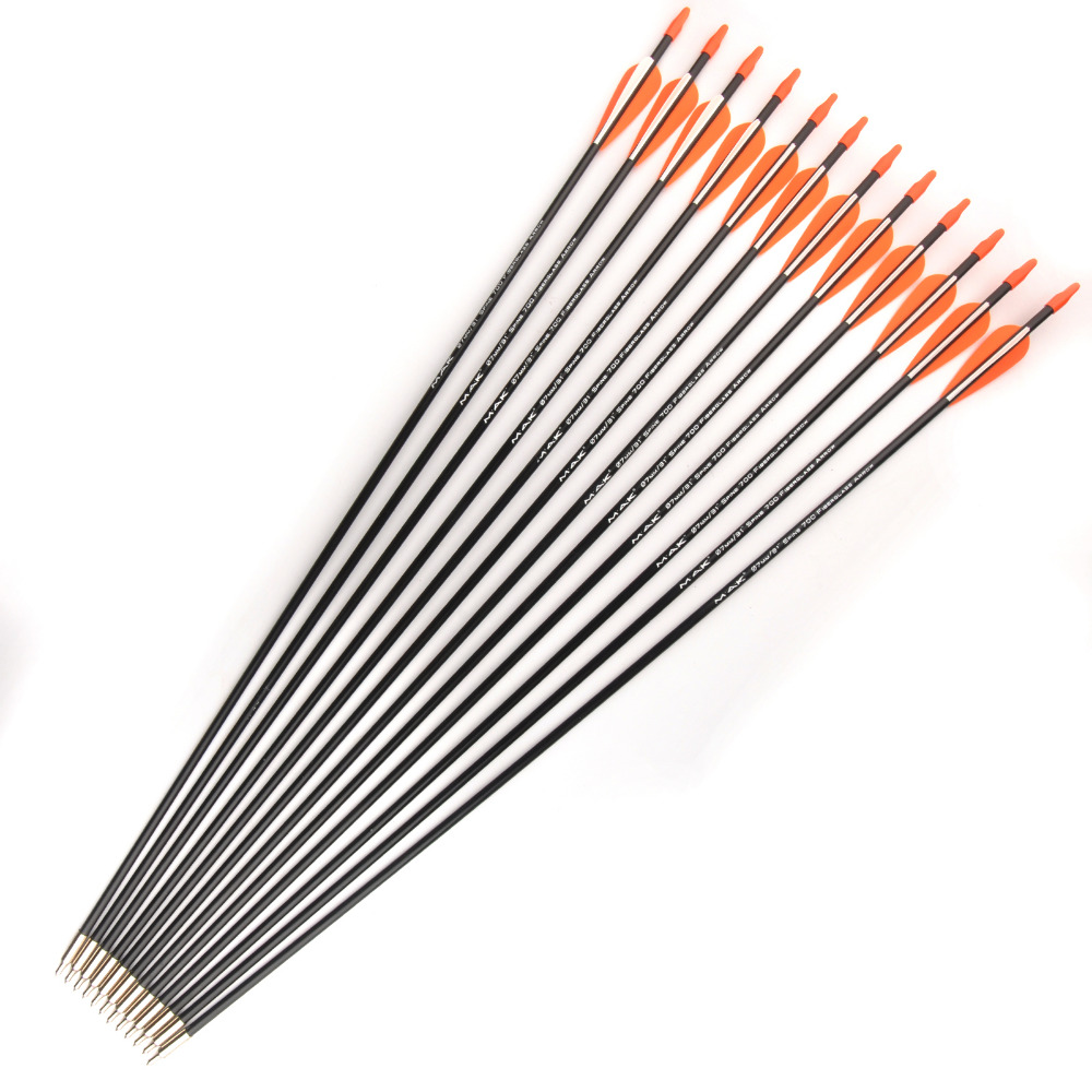 6/12/24/36 Pcs/lot Spine 700 Orange White Feather 31 Inches Fiberglass Arrow  For Recurve Bow Long Bow Practice Archery Hunting