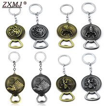 ZXMJ Game of Thrones Keychain Bottle Opener Keyring A Song of Ice and Fire House Stark Family Wolf Totem Key Ring Chaveiro Gifts(China)