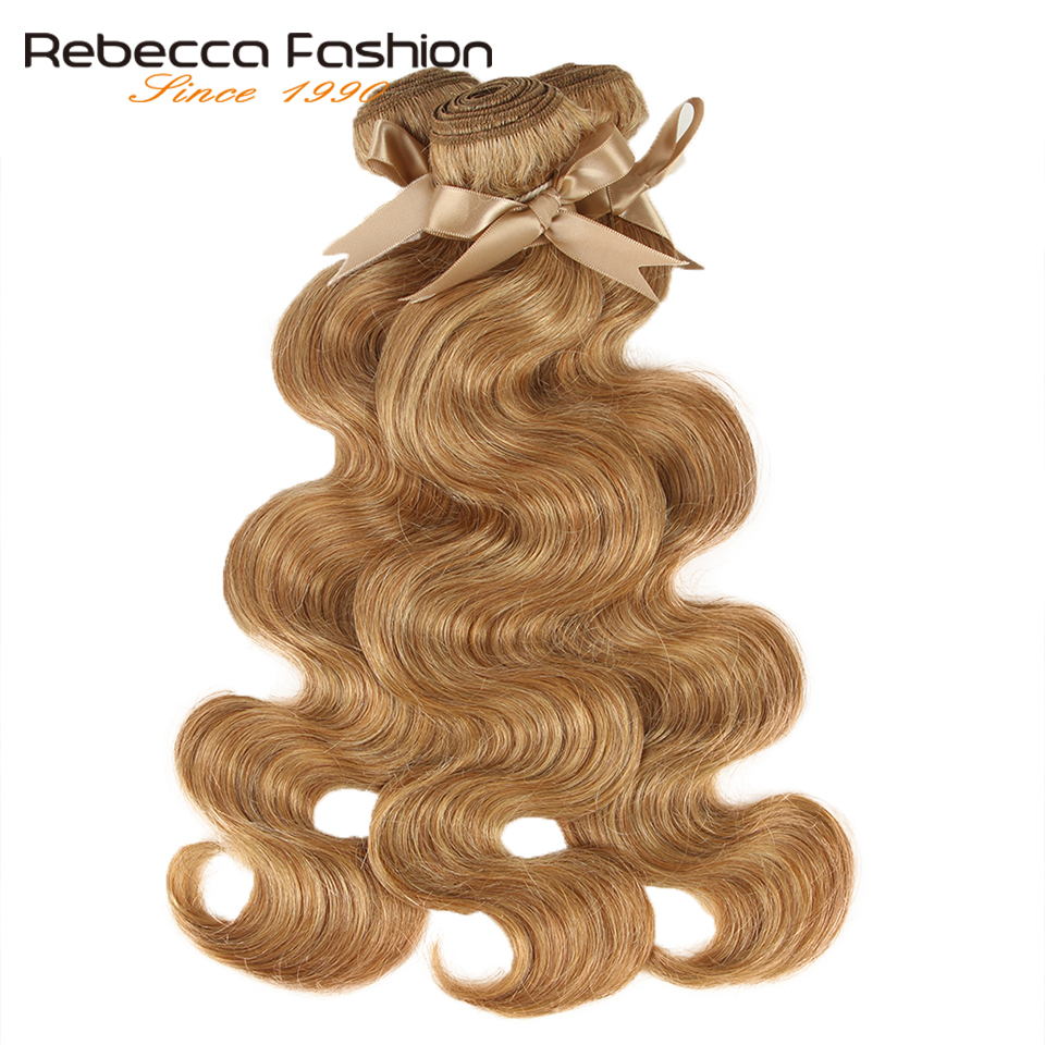 Rebecca Honey Blonde Hair Brazilian Body Wave Hair 1 Bundle Colored #P27/30 Remy Human Hair Extensions 10-26 Inch
