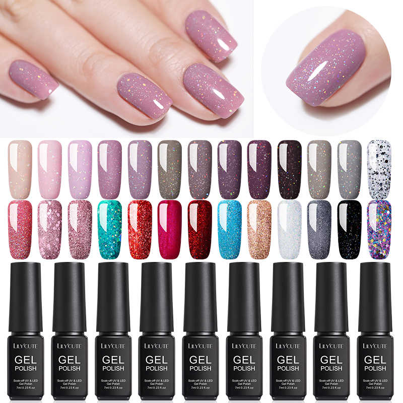 Lilycute 7 Ml Glitter Uv Gel Nail Polish Nude Warna Seri LED Nail Gel Varnish Semi Permanen Cat Kuku Payet gel
