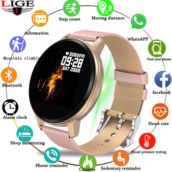 LIGE New Smart Watch Women Waterproof Fitness Tracker Heart rate blood Pressure Monitor Pedometer Sport Bracelet For Android ios lige smart wristband men women sport bracelet blood pressure heart rate monitor pedometer waterproof smart watch for andrdid ios