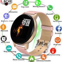 LIGE, nuevo reloj inteligente para mujer, impermeable, Monitor de ritmo cardíaco, Monitor de presión arterial, podómetro, pulsera deportiva para Android IOS