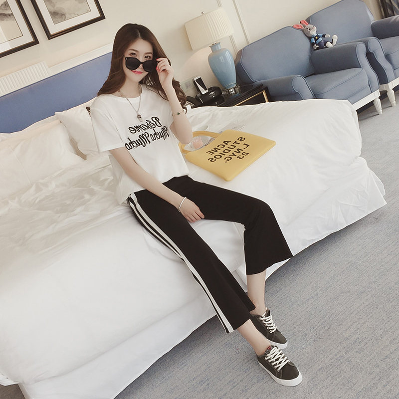 Summer Casual Fashion & Sports Set Korean-style Students Short Sleeve T-shirt GIRL'S Casual Straight-leg Pants Two-Piece Set WOM