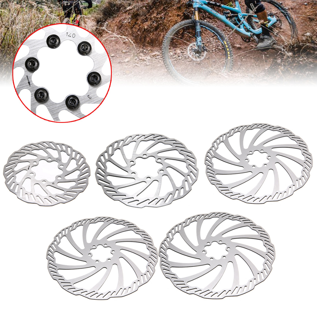 New Arrival Bike Brake Rotor 120/140/160/180/203mm Stainless Steel Bike Disc Brake Rotors + 6 Bolts For Mountain Road Bike