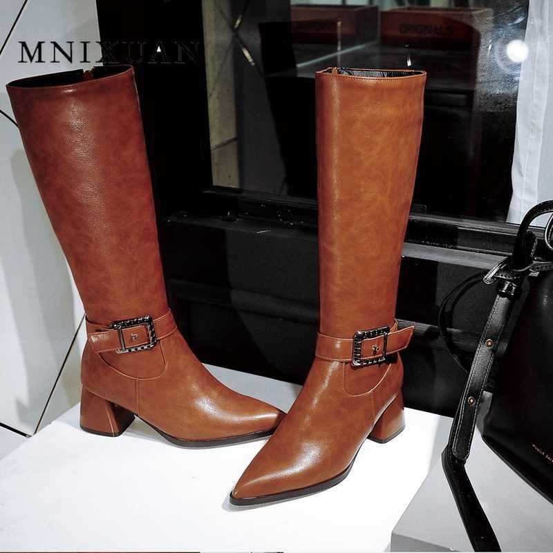 MNIXUAN 2019 ใหม่ฤดูใบไม้ร่วงฤดูหนาวบล็อกรองเท้าส้นสูงหนังยาวผู้หญิงรองเท้าเข่าสูงสีดำสีน้ำตาลสุภาพสตรีซิป boot ใหญ่ขนาด 10