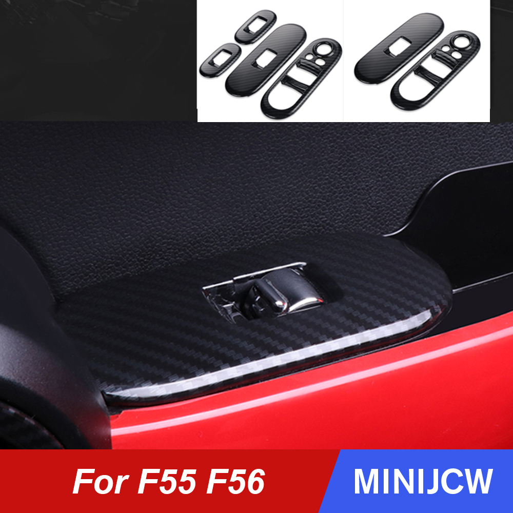 Car Window Lifter Switch Control Cober Case Shell Carbon Fiber Stickers For Mini Cooper S JCW F55 F56 Hatchback Car Accessories(China)