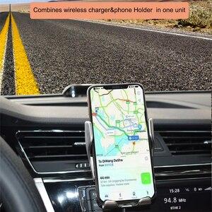 Image 5 - R1 التلقائي لقط 10 واط سيارة شاحن لاسلكي آيفون Xs هواوي LG الأشعة تحت الحمراء التعريفي تشى اللاسلكية شحن السيارات حامل هاتف
