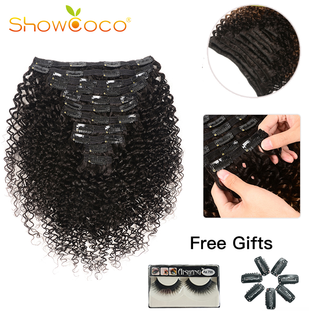 Showcoco Final-Year Curly Clip In Human Hair Extensions For Black Women 10-24Inches Clip Ins Machine-made Remy Hair Extensions