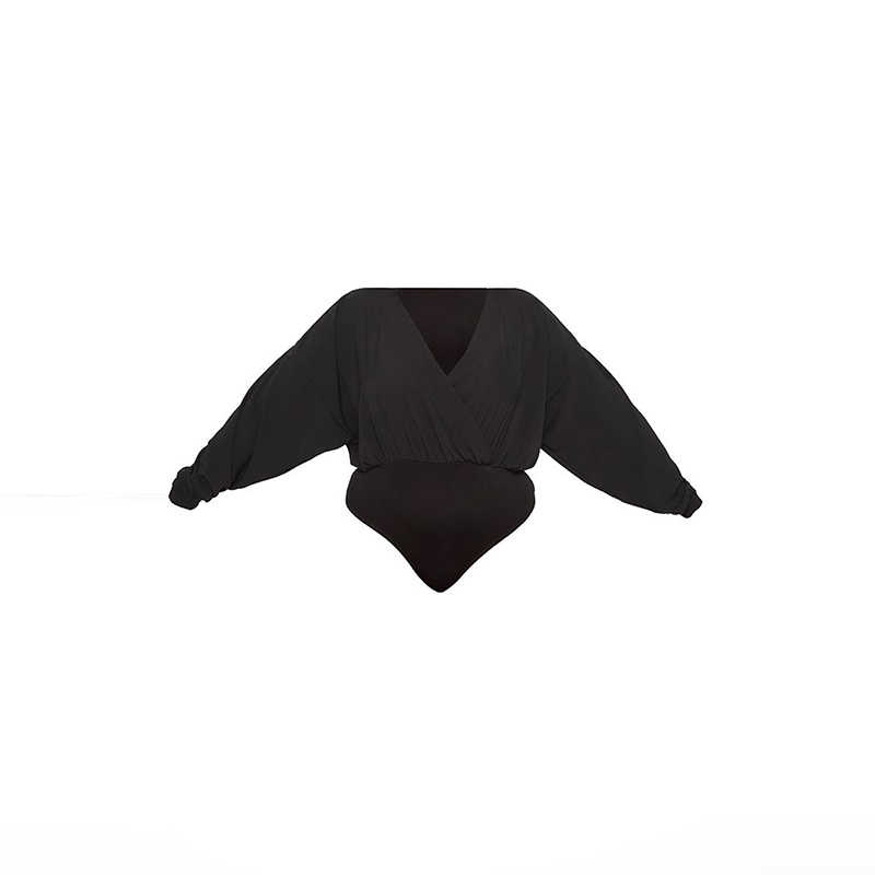 Kissmilk Лето 2019 плюс размер Модный уличный сексуальный стиль Глубокий v-образный вырез летучая мышь длинный рукав Htype свободный черный женский боди