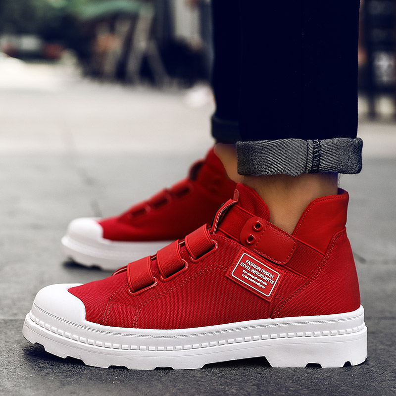 Men Autumn Winter Canvas Sneakers Western Oxfords Boots Outdoor High Top Rubber Sole Shoe England Retro Shoes Red  Ankle Botas