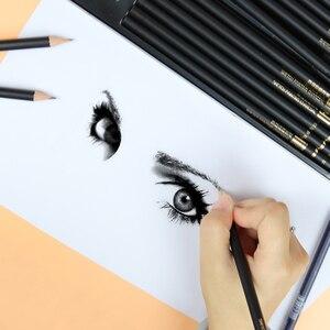 Image 4 - Карандаши NYONI Углеродные для рисования скетчей, набор из 29 предметов, 2H HB 2B 4B 6B 8B 12B 14B древесный уголь, ручка для рисования, Канцтовары