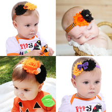 Baby Girl Halloween Handmade Chiffon Flower HairBand Pumpkin and Bow Hair Accessories Children Dress Up Headdress