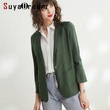 ผู้หญิง Blazers 50% ผ้าไหม 50% ผ้าลินิน 3/4 แขนยาว Blazer เดี่ยวปุ่ม Office Blazers Lady 2019 ฤดูใบไม้ร่วงใหม่ฤดูหนาว Out สวมใส่
