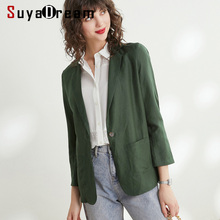 Women Blazers 50%Silk 50%Linen Solid 3/4 Sleeved Blazer Single Button Office Lady Blazers 2019 NEW Fall Winter Out wear