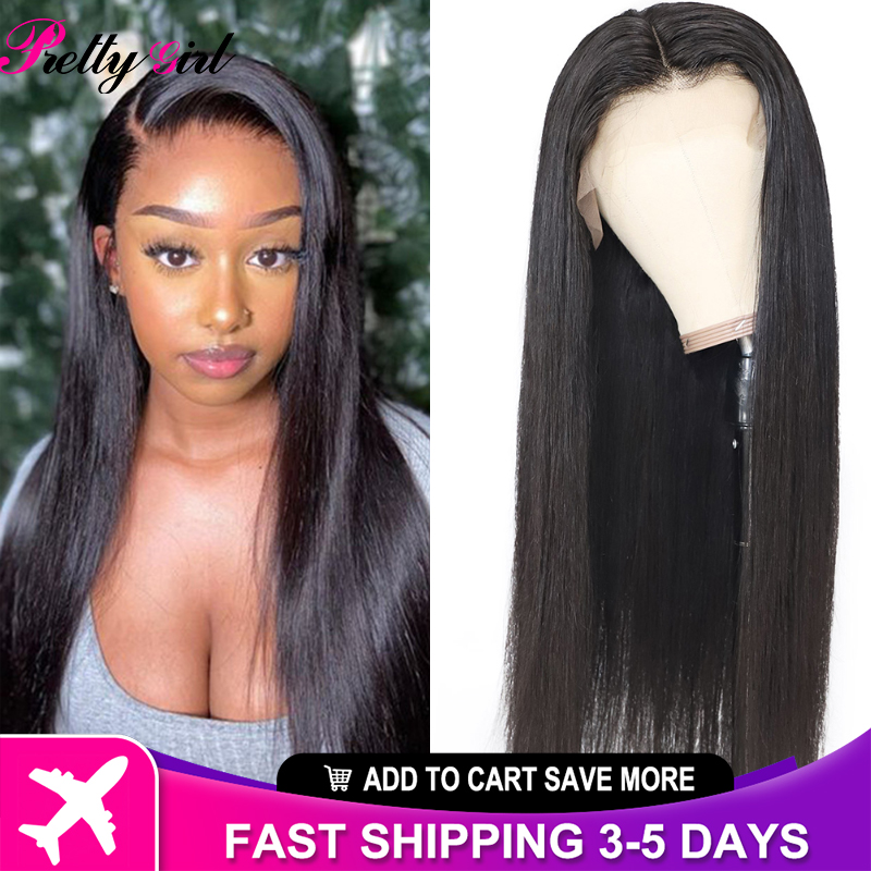 Pretty Girl Straight Hair Brazilian 13X4 Bone Straight Lace Front Wig PrePlucked Hairline For Black Women Natural Closure Wigs