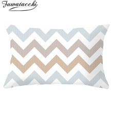 Fuwatacchi Wave pattern Cushion Cover Geometric Pillow Covers Decorative for Home Decor Horizontal Stripes Pillow Case 30*50cm high quality horizontal block friends happy life pattern pillow case