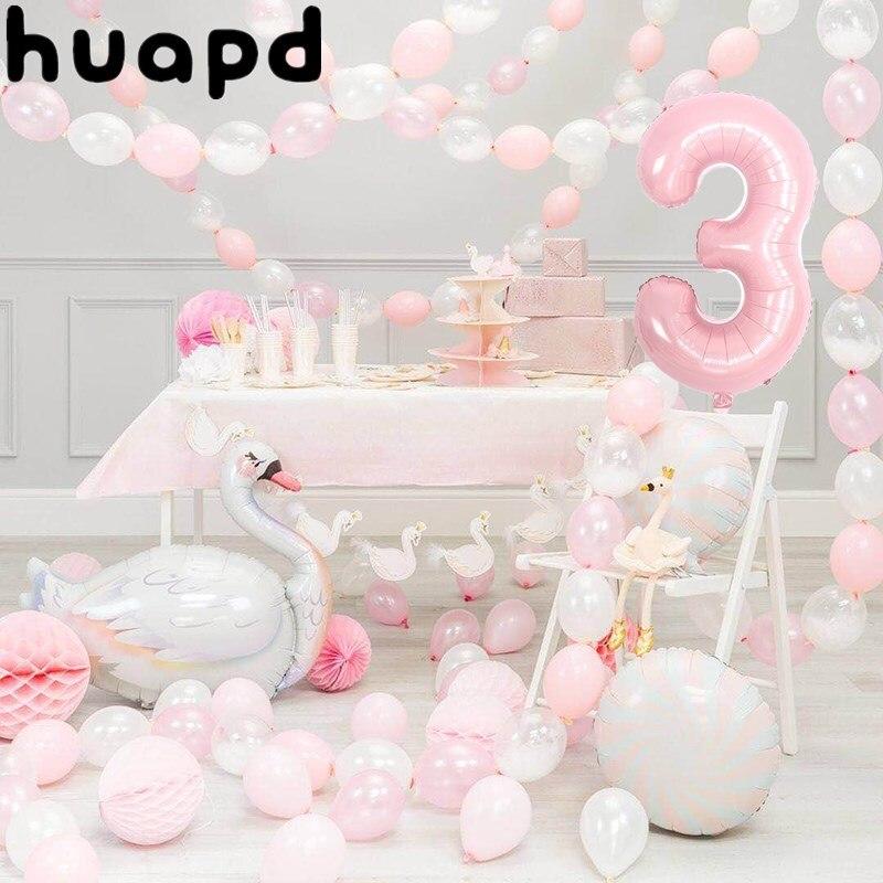 Rosa folha de alumínio número cisne branco balão 1st festa de aniversário do chuveiro do bebê menina decoração de aniversário balões de férias