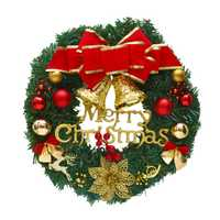 30cm boże narodzenie duże wieniec drzwi ozdoby na ścianę czerwony Bowknot jingle bells girlanda dekoracyjna prezenty na świąteczne przyjęcie De